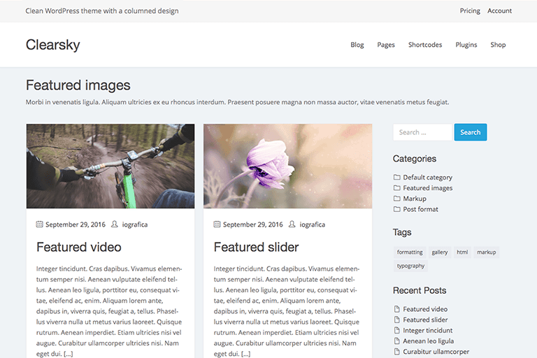 Clearsky WordPress Theme