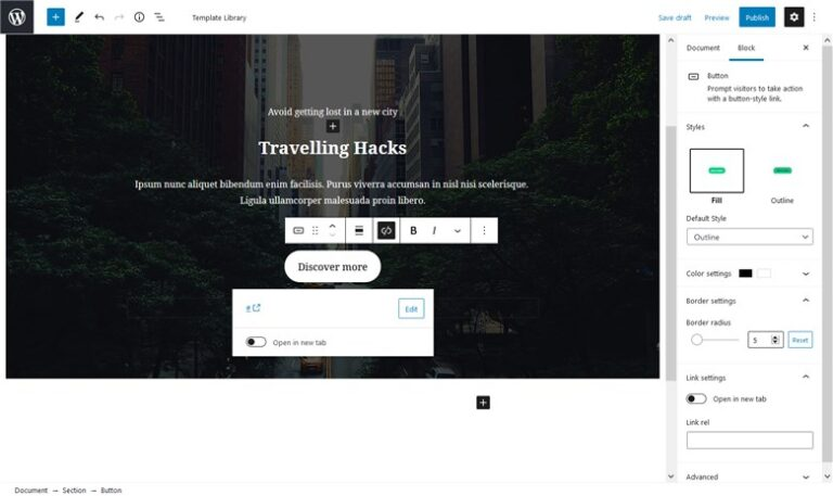 Customize fast the Base WP Theme with Getwid - button block getiwd