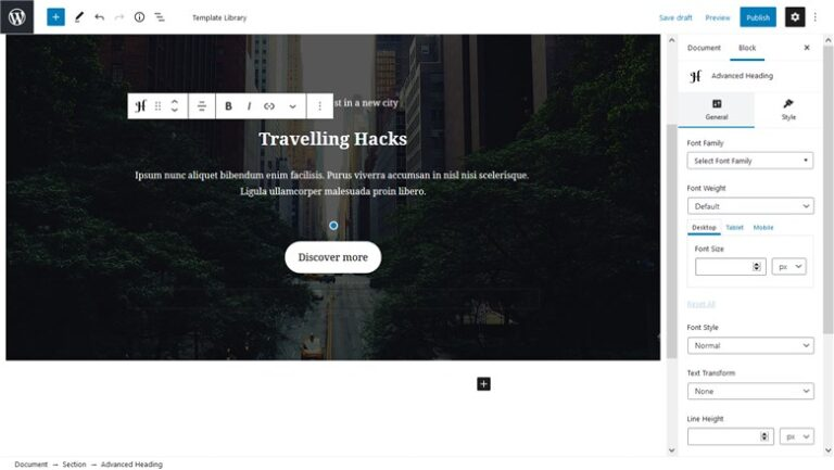 Customize fast the Base WP Theme with Getwid - heading block