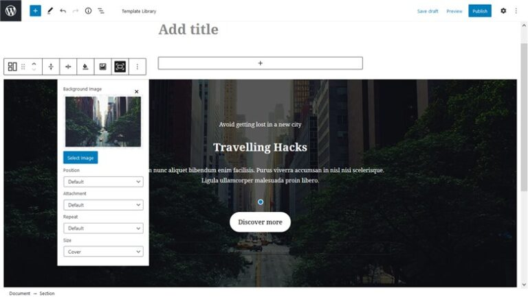 Customize fast the Base WP Theme with Getwid - hero section