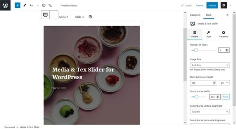 Customize fast the Base WP Theme with Getwid - media and text slider getwid