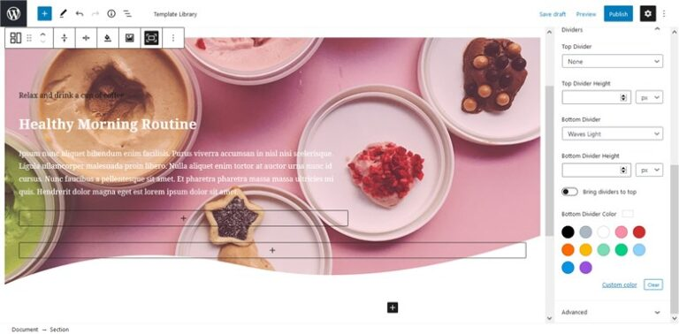 Customize fast the Base WP Theme with Getwid - shape divider