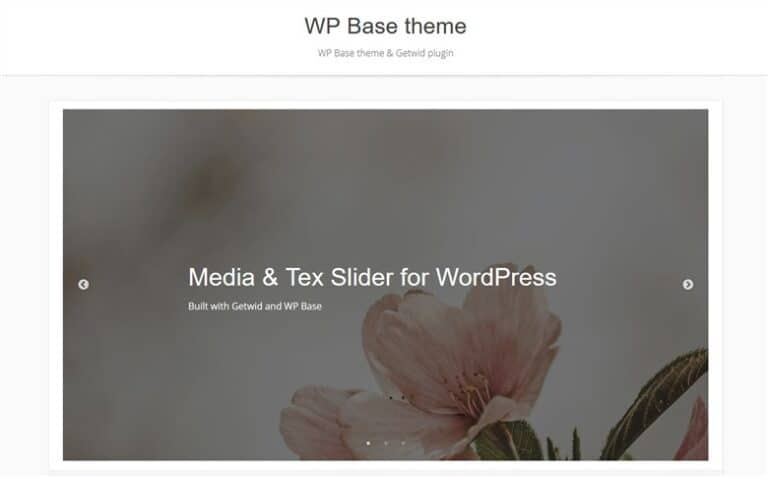 Customize fast the Base WP Theme with Getwid - slider getwid block