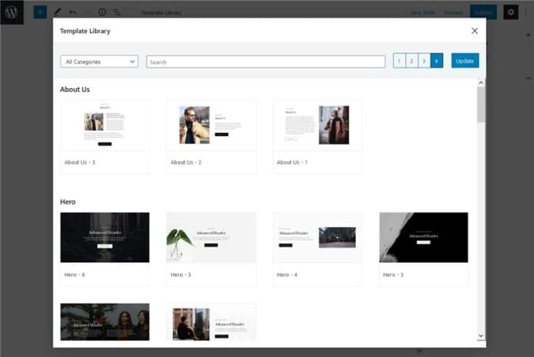 Customize fast the Base WP Theme with Getwid - template library getwid